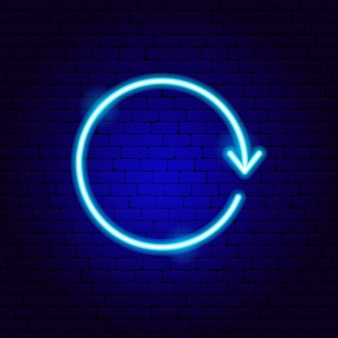 Arrow circle neon sign. vector illustration of direction promotion.