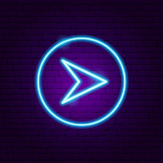 Arrow in circle neon sign. vector illustration of direction promotion.