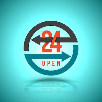 Arrow circle service 24 hour open icon