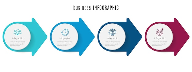 Arrow and circle timeline infographic template 4 steps
