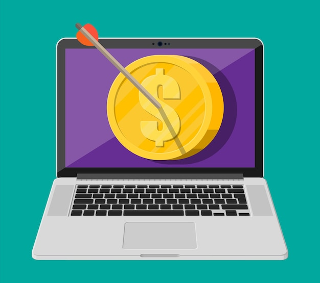 Arrow in coin target on laptop screen. goal setting. smart goal. business target concept. achievement and success. vector illustration in flat style