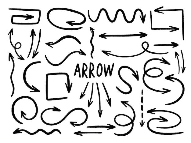화살표 컬렉션 손으로 그린 된 스타일. 선 요소 디자인 그리기.