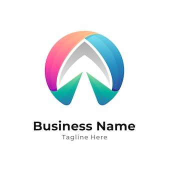 Шаблон логотипа цвета стрелки