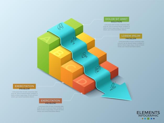 Стрелка, спускающаяся или лежащая на 4 красочных изометрических ступенях лестницы, линейных значках и текстовых полях. концепция снижения бизнес-проблем. творческий инфографический шаблон дизайна. векторная иллюстрация.