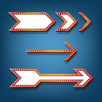 レトロな電球フレームの矢印のデザイン。
