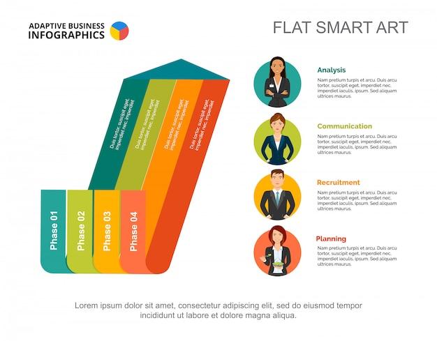 Arrow diagram graphic presentation. four phase infographic, editable template.