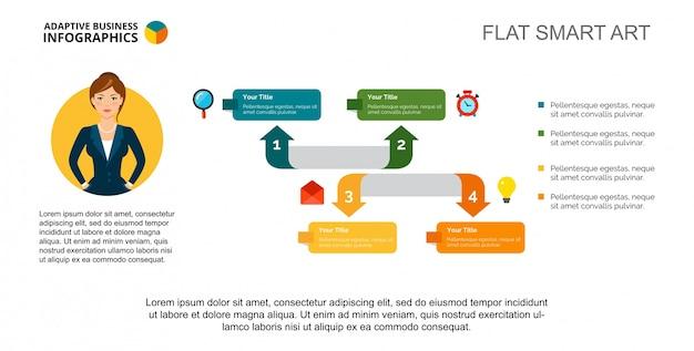 Modello di diapositiva diagramma a freccia