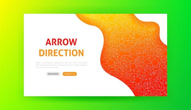 Arrow direction landing page. vector illustration of outline design.