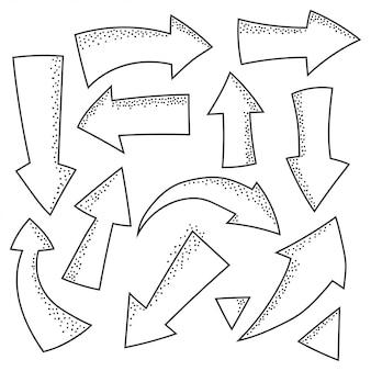 화살표 낙서 스케치 요소 벡터 격리 설정합니다.