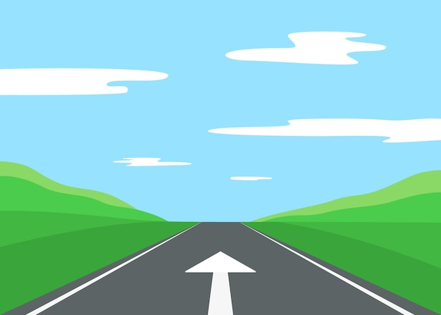 Arrow for driving in right direction movement on straight asphalt road right way on landscape