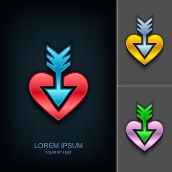 Arrow in the heart logo design template