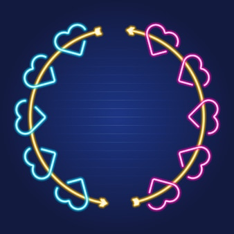 Arrow and heart wreath simple luminous neon outline colorful frame
