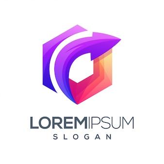Arrow hexagon gradient color logo design