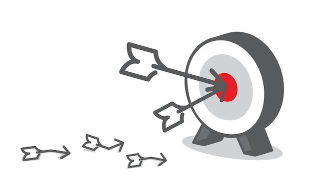 矢印ダーツボード、ビジネスコンセプト、目標設定で赤いターゲットをヒット