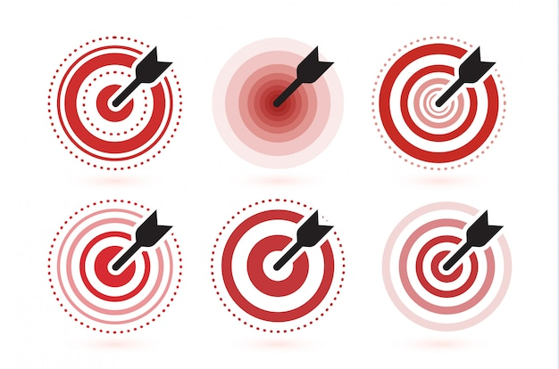 Arrow hit target  icons set. flat winner symbol template. modern emblem idea.