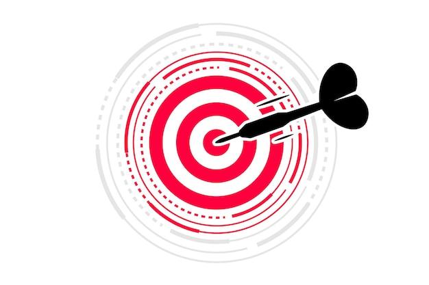 ターゲットに当たる矢。ビジネス、投資目標、機会チャレンジ、目標ミッション、タスクソリューションの目標に到達する概念。ダーツボードの中央にダーツが当たった。ターゲットの矢を撃つ