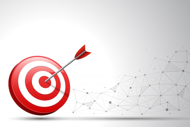 Arrow hitting a target dart on connection point and line background. vector illustration
