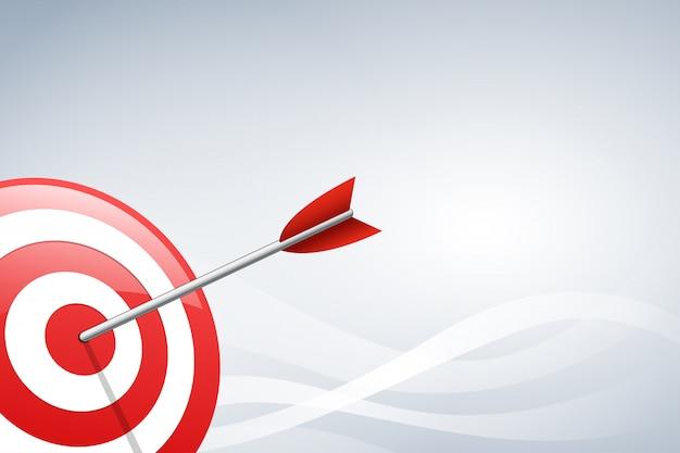 Arrow hitting a target dart on wave shape background. vector illustration