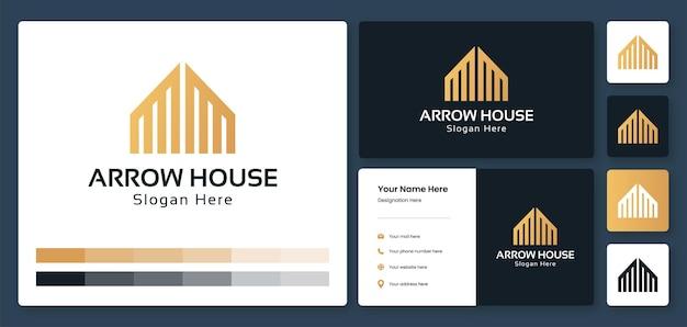 矢印の家のロゴデザインテンプレート名刺とアイデンティティテンプレートと家の建物のロゴ