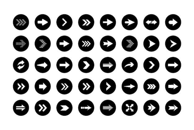 丸い形の矢印アイコン。平らな矢印の大きなセット。ウェブデザイン、モバイルアプリ、インターフェースなどのコンセプト矢印のコレクション。