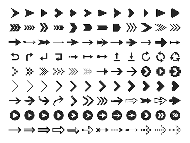 Arrow icon. infographic arrows sign, next or back web button and right pointer  silhouette icons set