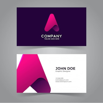Arrow Icon & Letter A Symbol Business Card Template