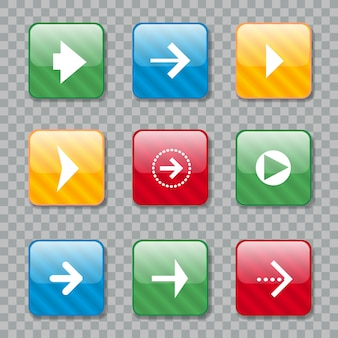 Arrow icons set for web design. vector ilustration