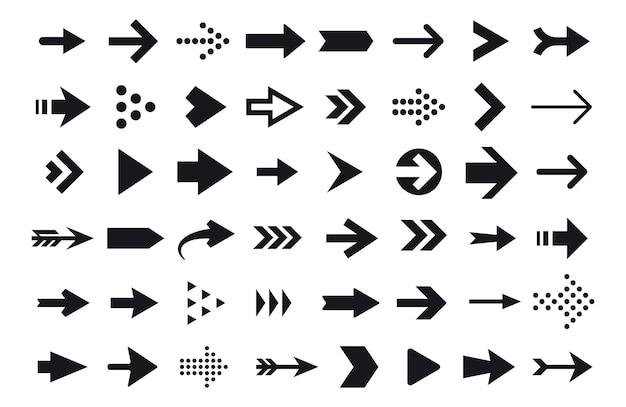 Arrow icons, vector arrow cursor isolated on white