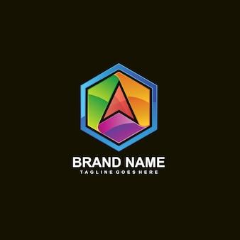 六角形のロゴの矢印