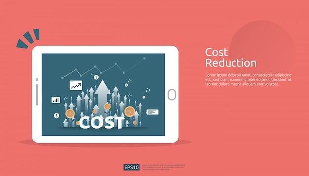 コスト削減の概念のための矢印の増加