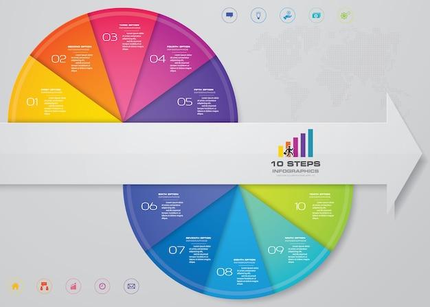 Arrow infograficsテンプレートチャートの10ステップ。