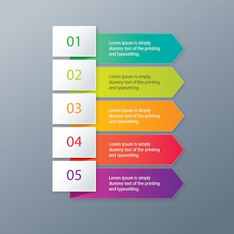 Стрелка инфографики 5 шагов процесса