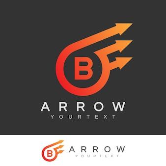 화살표 초기 문자 b 로고 디자인