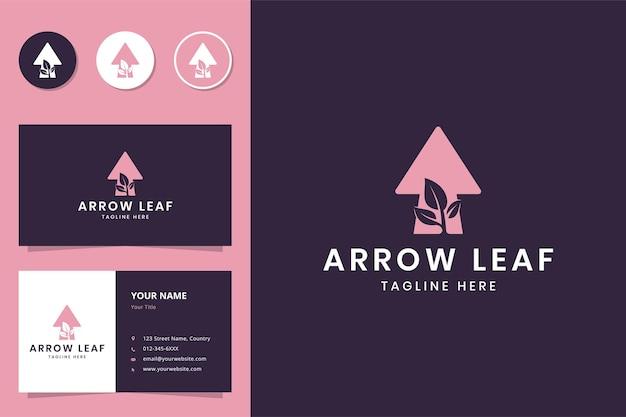 Arrow leaf negative space logo design