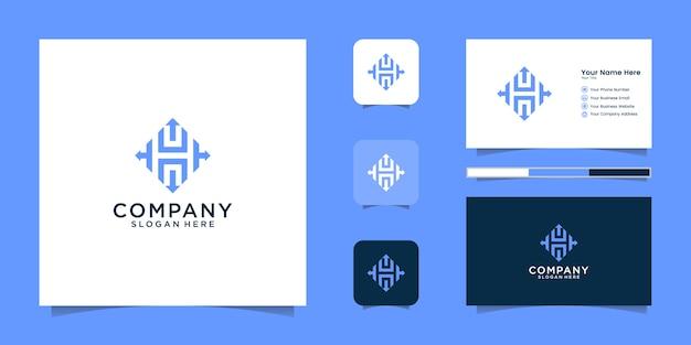 Стрелка буква h дизайн логотипа и визитная карточка