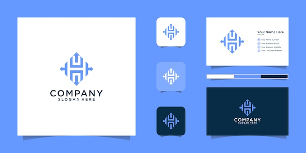 Arrow letter h logo design and business card