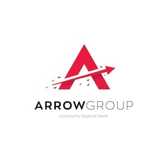 Arrow logo design with letter a Premium Vector