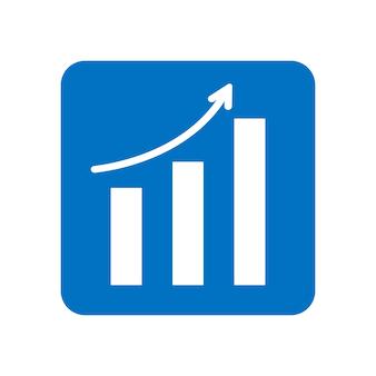 矢印はシンボルを上に移動します。青い色のベクトル成長グラフアイコン。トレンド図。白い背景で隔離のフラットベクトルイラスト