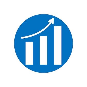 矢印はシンボルを上に移動します。ベクトル成長グラフアイコン。トレンド図。白い背景で隔離のフラットベクトルイラスト