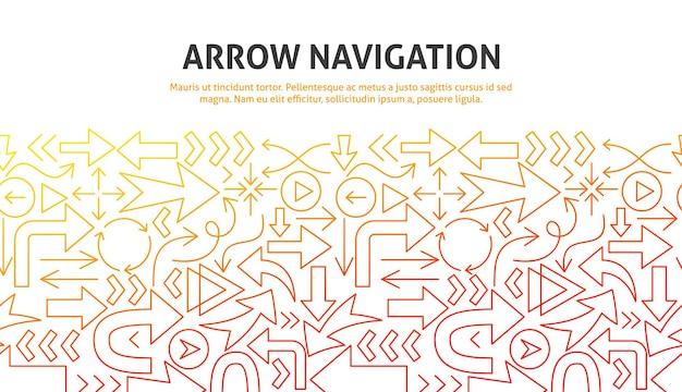 Arrow navigation concept. vector illustration of outline design.