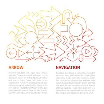 Arrow navigation line template. vector illustration of outline design.