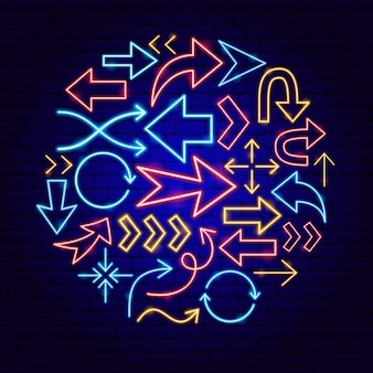 Arrow neon concept. vector illustration of direction promotion.