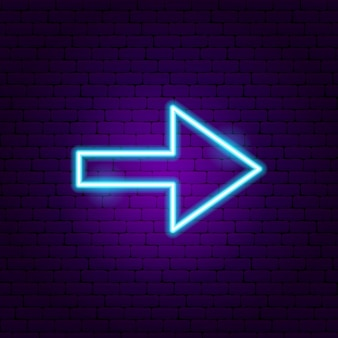 Arrow neon sign 3. vector illustration of direction promotion.