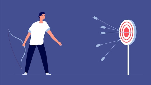 Arrow past target. upset man, business failure metaphor. bad startup, fail investments or financial bankruptcy vector illustration. missing aiming, target and archer, mistake opportunity