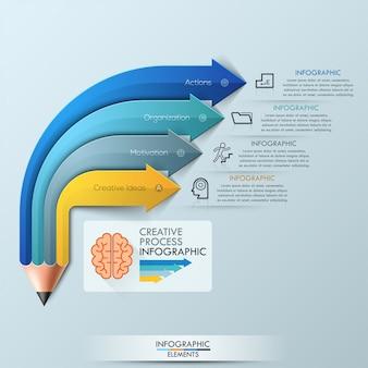 Arrow pencil infographic design template