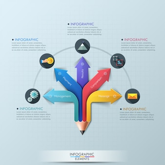 Arrow pencil infographic design template