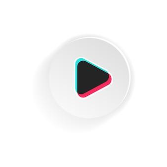 矢印再生アイコンボタン。ブログ。ソーシャルメディアtiktokのコンセプト。孤立した白い背景の上のベクトル。 eps 10
