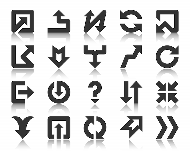 Arrow pointer black glyph icons set button down up, left right direction simple signpost sings.