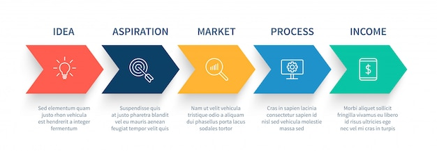 Arrow process steps chart, business startup step arrows, work flow graph and success stages  infographic concept