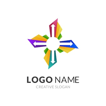 Arrow and propeller logo design, modern 3d logo style in gradient vibrant colors